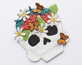 Leather Sugar Skull Brooch Leather Jewelry Day of the Dead Strawberries Butterflies