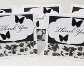 Black and White Flowers and Butterflies Handmade Mini Thank You Cards 22