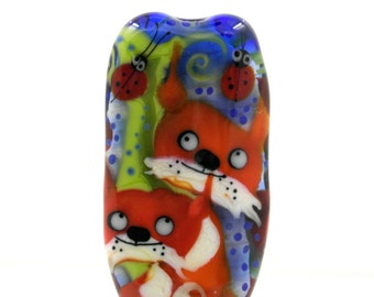 Fox , Lampwork glass bead , handmade glass focal fox bead, glass focal sra ooak