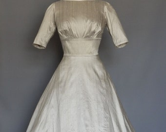 Pale Silver Silk Dupion Audrey Wedding Dress - Made by Dig For Victory