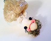 Ooak Spun Cotton Anthropomorphic Wooland Mushroom, Shabby Chic, Ornament