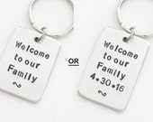 Gift for groom from in laws in-laws - Wedding gift for son-in-law - Welcome to our Family keychain keyring (with or without wedding date)