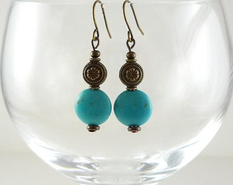 Turquoise Earrings Turquoise Brass Earrings Turquoise Gemstone Earrings Turquoise Drop Earrings Brass Turquoise Drops