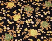 Vintage Black Fabric with Yellow and Green Flowers - 2 Plus Yards