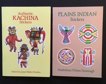 Vtg Lot Of 2 Dover Sticker Books - Authentic Kachina Stickers - Plains Indian Stickers