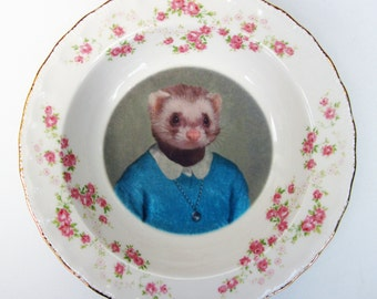 Portrait Bowl.   Juliet Ferret, School Portrait  6""