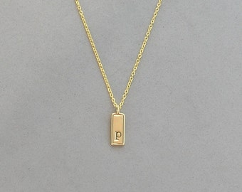 Gold Plated Initial p Necklace