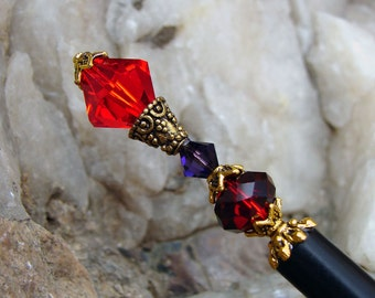 Hair Stick with Siam Red and Purple Velvet Swarovski Crystals Hair Pin Red and Purple Crystal Hair Accessory – Roxana