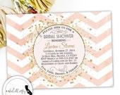 Gold Confetti Bridal Shower Invitation, Gold Glitter, Chevron Print, Blushing Bride, Printable Invitation, Digital or Printed Invitation