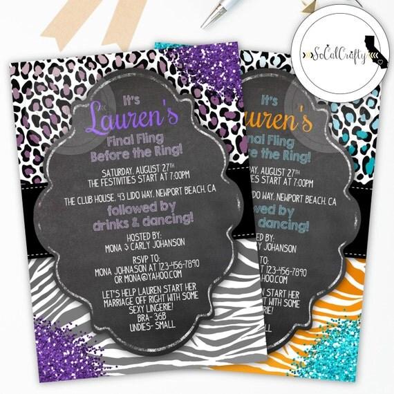 Wild Bachelorette Party Invitation, Leopard Print, Zebra Print, Glitter, Safari, Chalkboard, Printed or Printable Invitations, Free Shipping