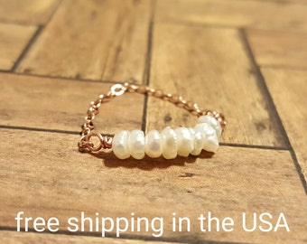 rose gold ring pearl FREE SHIPPING 14k gold filled filled chain