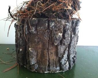 Faux bois cement planter