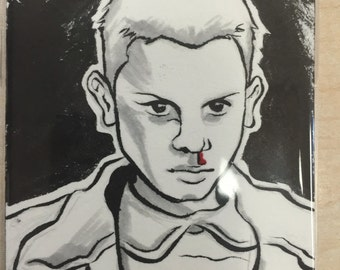 Eleven from Stranger Things sketchcard by Terry Blas.