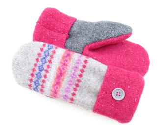 Felted Wool Sweater Mittens Fleece Lined Bright Pink and Gray Design