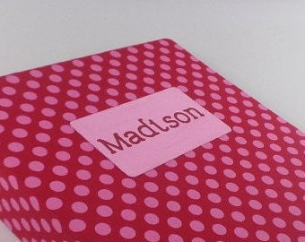 Girl Baby Book- Personalized memory album- pink and red polka dot- baby shower gift- Modern keepsake