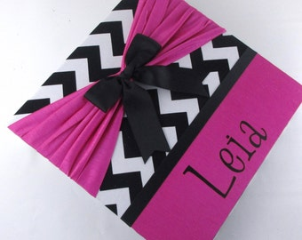 Chevron photo album, hot pink with Black, Baby girl photo album, 4x6 or 5x7 pictures personalized baby shower gift