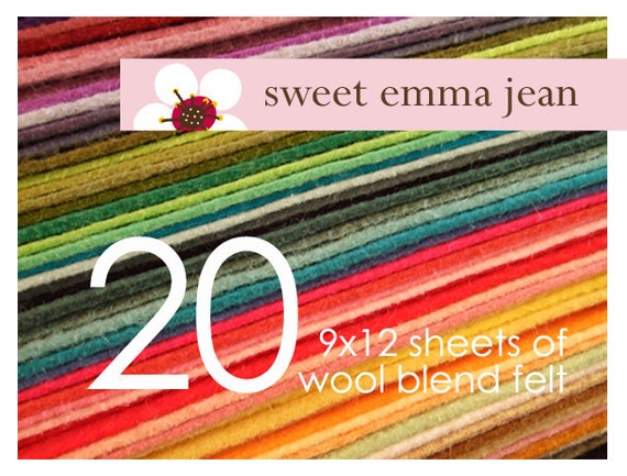 FELT - Wool Felt Sheets - Choose Any Twenty (20) - Wool Blend Felt