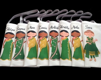 Indian bridesmaids gifts and bridesmaids sari wedding gifts bags for bridal shower party or wedding give away favors totes