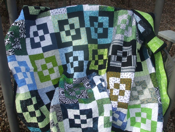 Handmade Twin Size Quilt, Black White Blue Green Quilt, Modern Quilt, Contemporary Bed Quilt, Modern Bedding, Patchwork Quilt Blanket