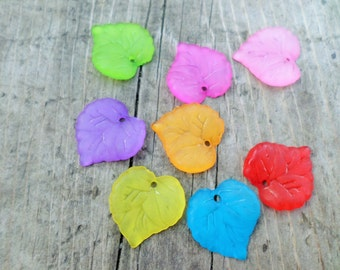 Multi Colored Lucite Leaf Charm/Pendant 20 pcs 15x15  mm(Item Number PL591)