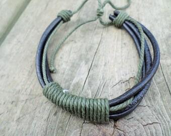 Mens Leather and Cotton Cord Adjustable Bracelet BeadingonaBudget