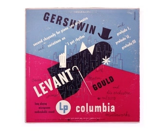 "Alex Steinweiss 10-inch record album design, 1950. Oscar Levant & Morton Gould ""Gershwin Second Rhapsody, I Got Rhythm, and Prelude"" LP"