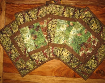 Fall Autumn Earth Tone Runner, Christmas Quilted Tablerunner, Green Brown Gold Leaves Pine Cones, Earth Tones, Reversible, Mountain Cabin