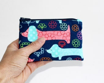 Small Zipper Pouch in Navy with Colorful Doxies, Dachshunds, Hot Dogs
