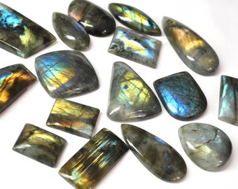 Multicolor Labradorite, Natural Gemstones, Flat Back Cabochons, Jewelry Supply B-grade - 16 pcs Parcel - 16.2-53.7 mm - 806 ct - 160920-13