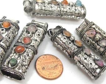 5 pendants set - Ethnic Tribal antiqued silver tone pendant cap inlaid with agate gemstones - - LN019s