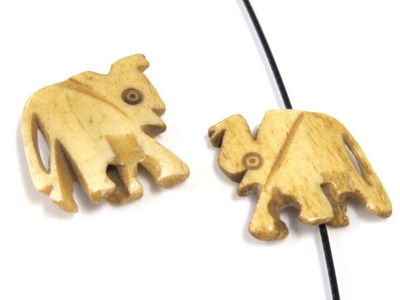 2 Beads - Medium size carved elephant design ivory color bone beads  - HB070