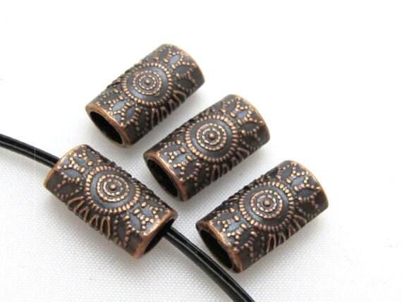 4 Beads-Copper tone sun floral design large hole convex cylinder shape metal beads  -  BD410