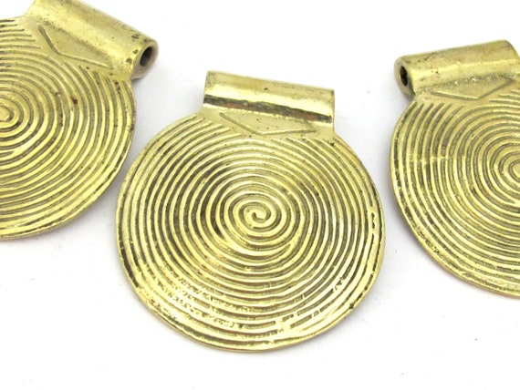 3 Pendant - Large 46 mm Solid brass spiral symbol tribal shield pendant  - CP103
