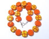 Beaded Necklace, Ceramic Jewelry, Kazuri Bead Necklace, Orange and Yellow Necklace