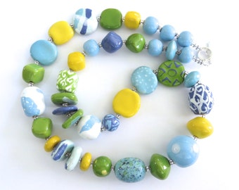 Ceramic Necklace, Kazuri Bead Necklace, Statement Necklace, Blue Yellow White Green and French Blue Necklace