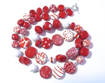 Ceramic Jewelry, Kazuri Bead Necklace, Red and White kazuri Necklace