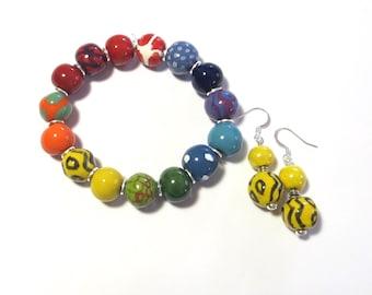 Beaded Bracelet, Kazuri Bangle, Fair Trade, Ceramic Jewellery,  Rainbow Coloured Bracelet, Yellow Coloured Kazuri Earrings