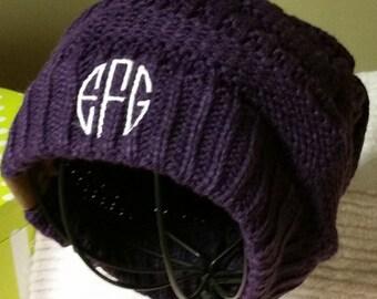 Womens Monogrammed Knit Slouchy Beanie Hat Cream Army Green Purple Black