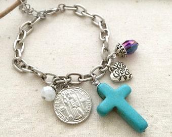 Cross Bracelet, St. Benedict Bracelet, Best Friend Gift, Gift Ideas, Natural Stone Bracelet, Religious Bracelet, Turquoise Stone Bracelet
