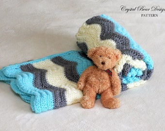 Crochet Baby Blanket PATTERN, Chevron Baby Blanket, Ripple Afghan, Made in Canada Crystal Bear Designs