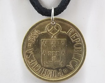 1986 Portugal Coin Necklace, Mens Necklace, Womens Necklace, Coin Pendant, Leather Cord, Vintage