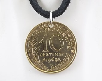 1969 French Coin Necklace, 10 Centimes, Mens Necklace, Womens Necklace, Coin Pendant, Leather Cord, Vintage