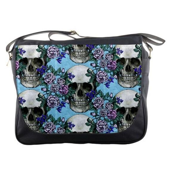 Skulls and Roses Shabby Chic Messenger Bag