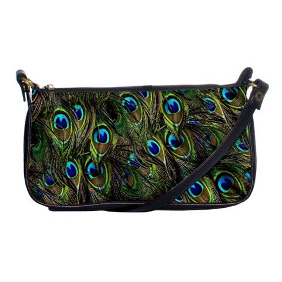 Peacock Feather print shoulder strap clutch
