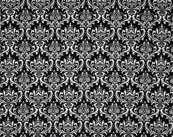 CLEARANCE SALE Black white madison damask fabric