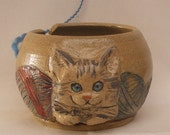 Cat Yarn bowl, Stoneware Ceramic yarn bowl, with engraved Kitten