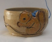 Stoneware Squirrel Yarn Bowl, Hand Painted