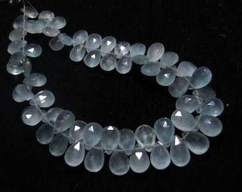 AQUAMARINE - AAA - High Quality Natural Blue Color - Faceted Pear Briolettes Size - 8 - 11 mm - 8 inches Long - 90 Crt