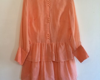 60s does 20s Peach Ruffles Dress