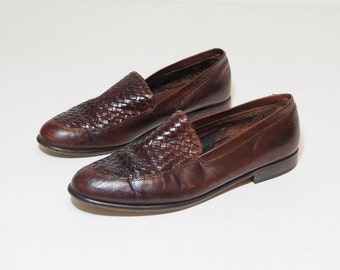Vintage Brown Leather Woven Loafers Size 9.5 Womens Flats